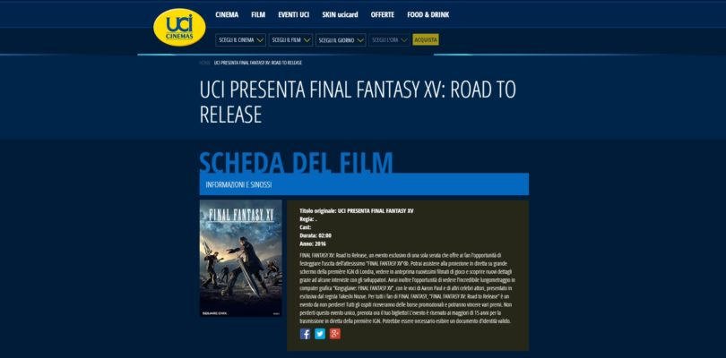 Final Fantasy XV ci invita al Cinema!